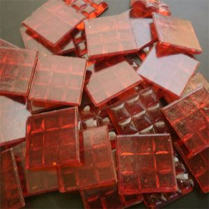 Transparent Ruby Red - Mosaic Glass Tiles 2cm x 2cm x 4mm (D40)