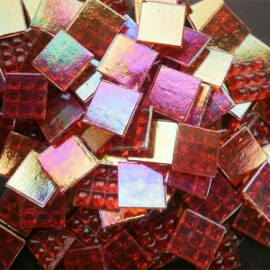 Mosaic Glass tiles from Asia 1.5cm x 1.5cm -  Red (P323)