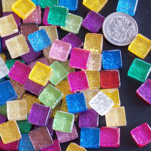 Glitter Mix - Mosaic Glitter Tiles 1cm x 1cm x 4mm