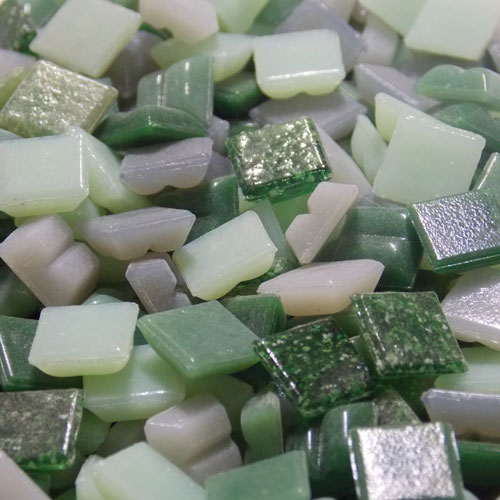 Mixed Greens - Mosaic Glass Tiles 1cm x 1cm x 4mm