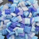 Mosaic Glass tiles from Asia 1cm x 1cm - Mixed Blues